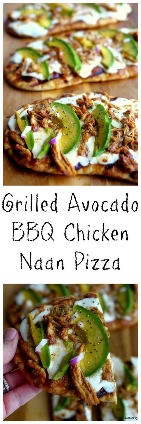 Grilled Avocado Barbecue Chicken Naan Pizza - A simple way to enjoy pizza on the grill with naan bread as your base - Barbecue sauce, fresh mozzarella, rotisserie chicken and delicious California avocado make this a perfect appetizer or a meal which you could serve with a side salad - Please click for the full recipe from Noble Pig #pizzawithatwist...x