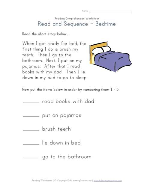 Read And Sequence Bedtime Worksheet