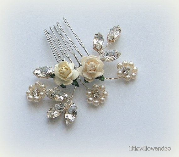 Flora Wedding Hair Comb Pearl Hair Comb by LittleWillowandCo, £26.02
