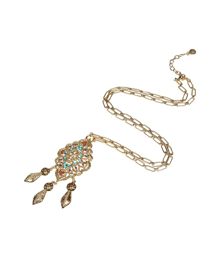 Gold Puff Tear Drop Pendant Necklace