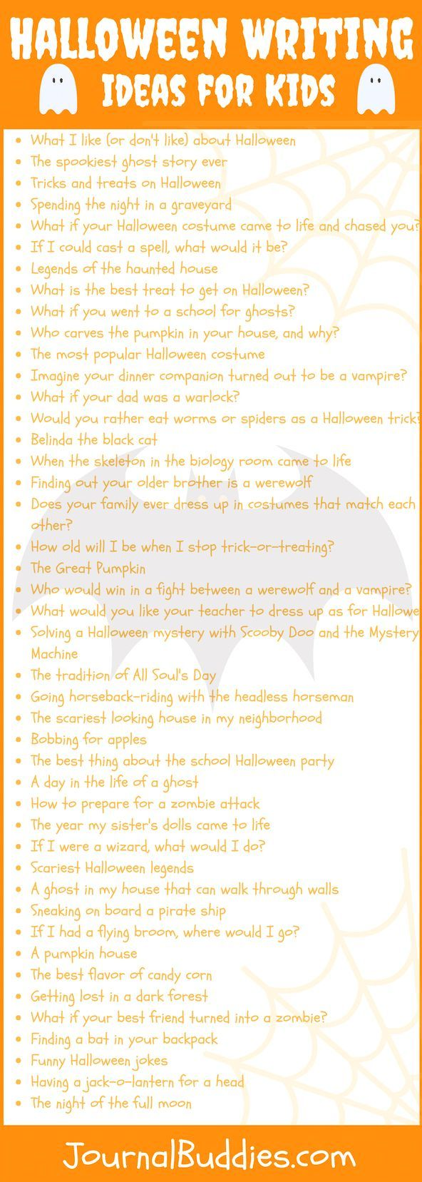 Halloween is on the minds of your elementary students. Go ahead! exploit their excitement and connect it to their elementary writing skill development. Besides, it's likely that elements of the season have been showing up in their school work already, so why not give them some specific elementary writing prompts for the spooky occasion?