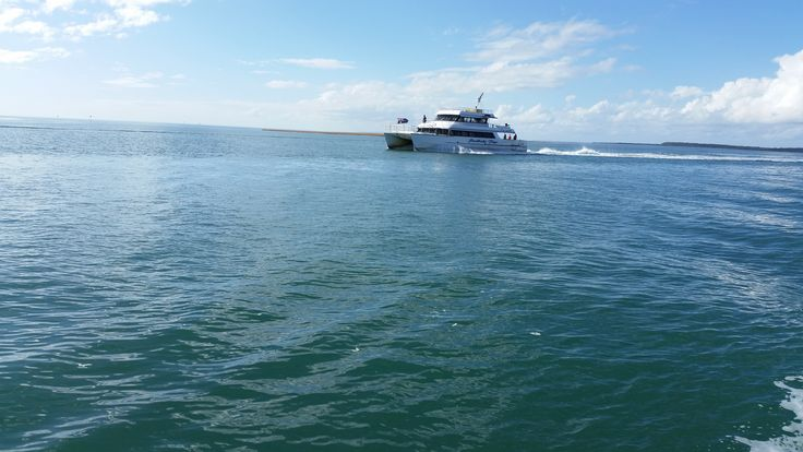 The Stradbroke Flyer water taxi from the MV Myora. The Stradbroke Flyer (operated by Gold Cats) takes passengers from Toondah Harbour, Cleveland to One Mile Jetty on North Stradbroke Island.