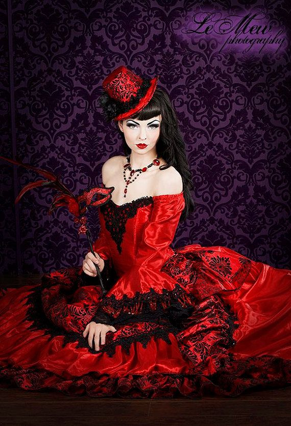 Gotische viktorianische Steampunk-Antoinette Fantasy Masquerade Gown, jede Farbe und Größe