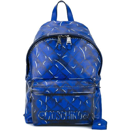 Blue calf leather trompe-l'ail quilted backpack from Moschino featuring a front zip pocket, a top zip fastening, a top handle, adjustable shoulder straps, an internal zipped pocket, an internal logo stamp and a printed 3D logo and quilted effect. Size: OS. Color: Blue. Gender: Female. Material: Calf Leather.