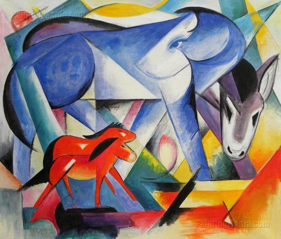 The First Animals Franz Marc Hand Painted Oil Painting Etsy Franz Marc Animal Paintings Art