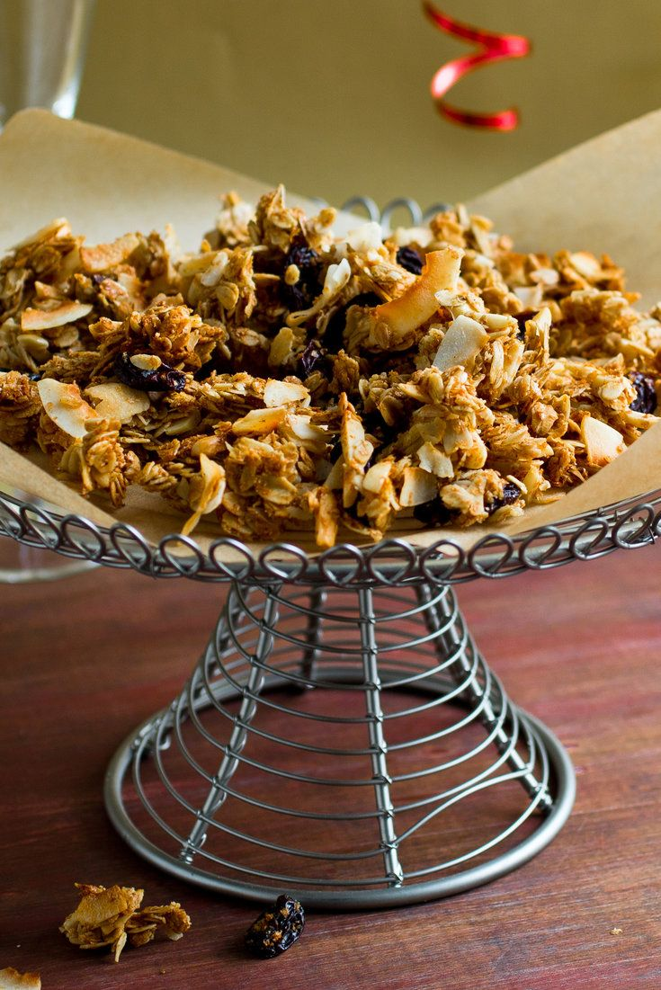 NYT Cooking: This somewhat clumpy granola isn't too sweet, so you can feel a little virtuous when you snack on it. It is best to eat it soon after baking, while the clumps still hold