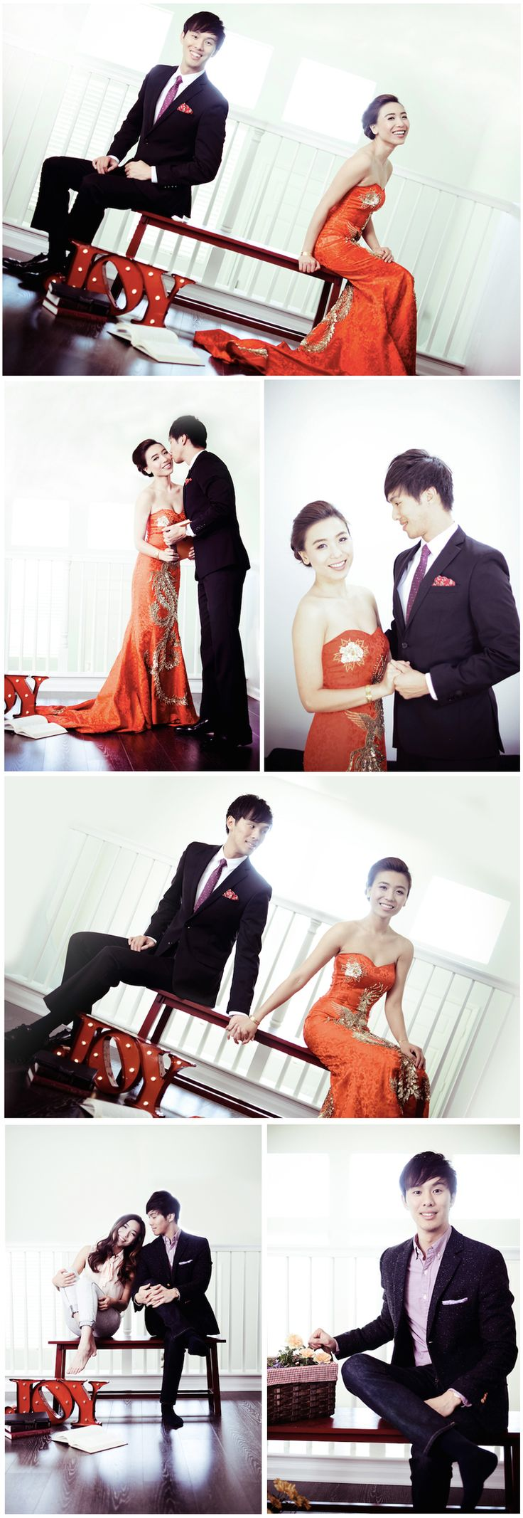 Beautiful pre-wedding engagement shoot with a modern interpretation of the traditional Chinese qipao dress.