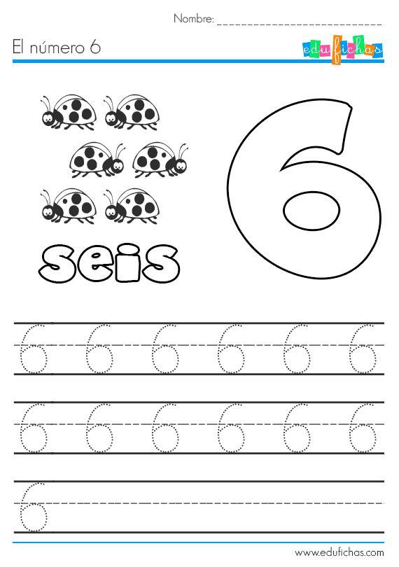 Ficha para aprender el número 6, con dibujos coloreables y además líneas de caligrafía punteadas para aprender a escribir el número 6. Fichas y actividades