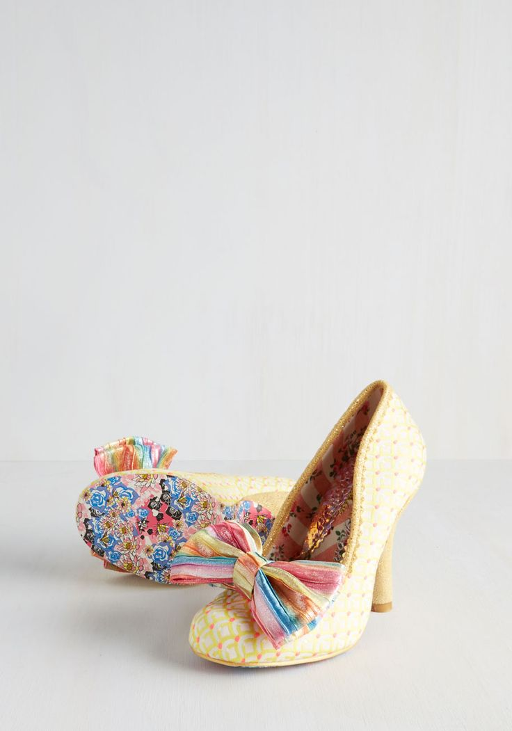 Irregular Choice Pinky and the Rainbow Heel. Animate your ensemble with the lively panache of these pumps by Irregular Choices Iconic label. #yellow #modcloth