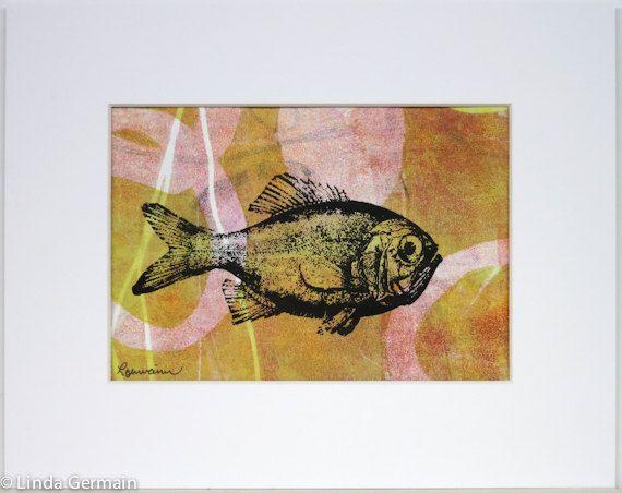 Motif abstrait de poisson, Monotype avec écran d'impression, décoration de la maison 8 x 10, bureau wall art, imprimé à la main, cadeau