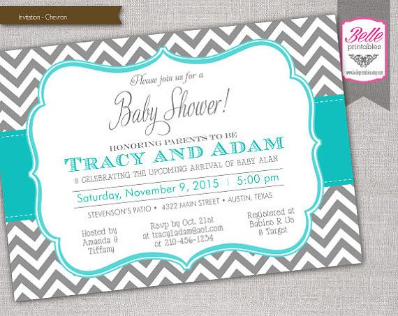 Chevron Gray And Turquoise Baby Shower By BellePrintables On Etsy, $12.50