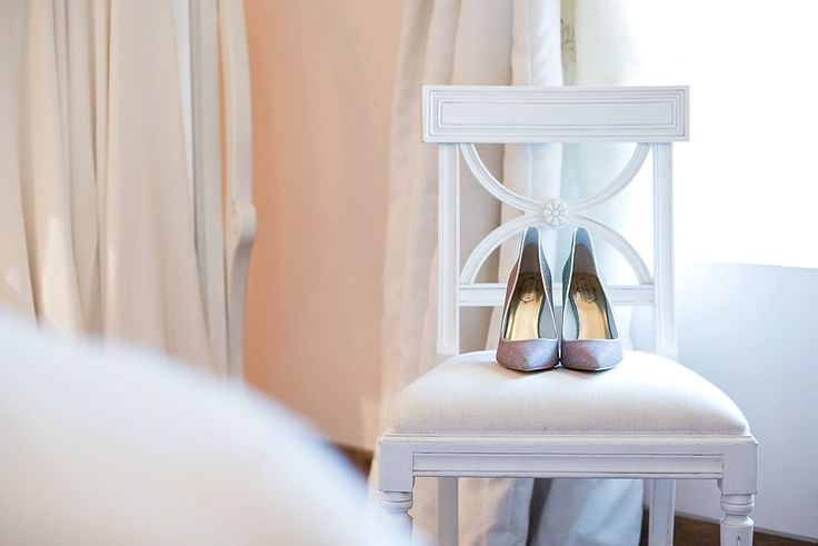 Wedding shoes on chair