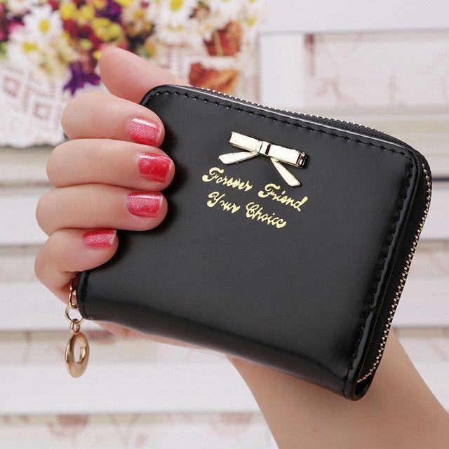 Candy Color Bow Design Women Leather Wallet Short Slim Mini Money bag Wallet Coin Card Purses Holders Clip Female