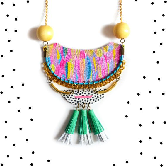 Wood and Brass Statement Necklace, Geometric Leather Necklace, Colorful Tassel Necklace, Tribal Crescent, Neon Woven Chain Rope Jewelry