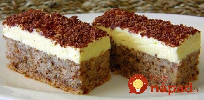 Lahodný zákusok z vanilkovým krémom, orechmi a lahodnou čokoládovou. Vyskúšajte tento skvelý dezert z jednoduchou prípravou, ktorý bude ozdobou vášho víkendu. Dobrú chuť, priatelia!