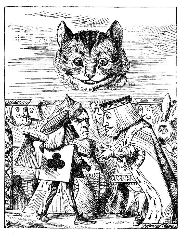 John Tenniel's original book illustration of the Cheshire Cat from Alice's Adventures in  Wonderland by Lewis Carroll.