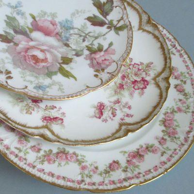 3 Antique HAVILAND Limoges Porcelain Plates