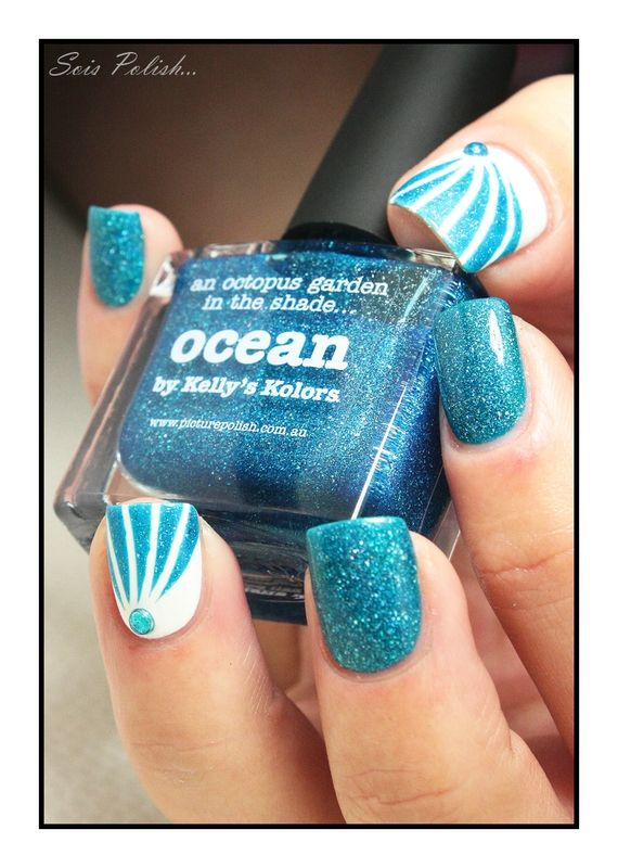 Ocean - Picture Polish // Striping tape nails @Elle_Oh_Die