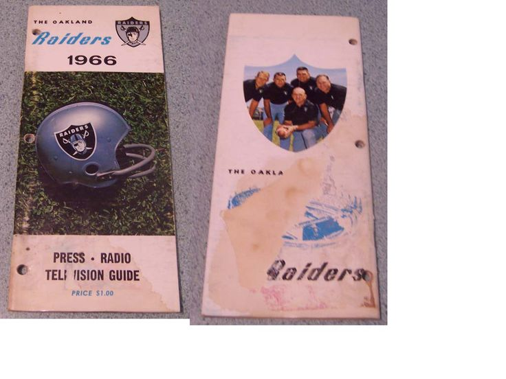1966 AFL OAKLAND RAIDERS MEDIA GUIDE. 65 PAGES. COMPLETE WITH WATER DAMAGE. PICTURES AND BIOS OF ALL THE RAIDER PLAYERS. FILLED WITH PLENTY OF STATS AS WELL. 24.99 http://www.vintagesportsshoppe.com/photos/reda1.jpg