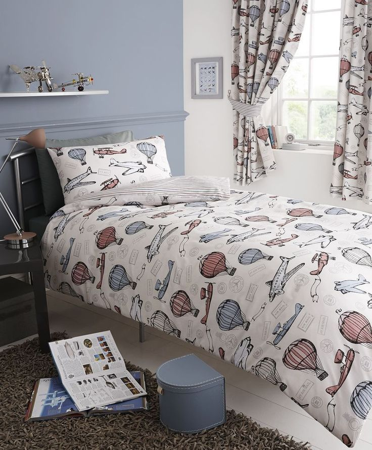 AVIATION AEROPLANE AIR BALLOON KIDS DOUBLE BED DUVET QUILT COVER BEDDING SET NEW #Childrens