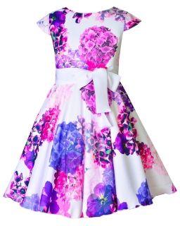 Elegancka rozłożysta sukienka 128-158 Anita 8 ecru plus fiolet