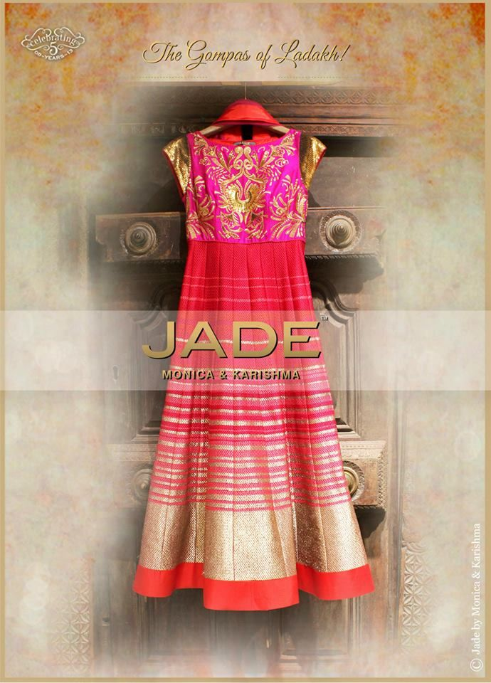 The 'Gompas of Ladakh' inspired Anarkali in sweet shades of Fuchsia & Red to brighten up the Festive Season! #jadebyMK #jade_byMK #jade #anarkali #fuchsia #red #gold