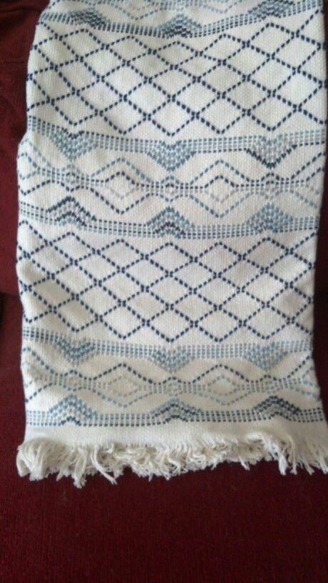 Swedish weaving afgan. Stitched in variegated blue and solid navy blue. Pattern is beehive by Avery Hill.