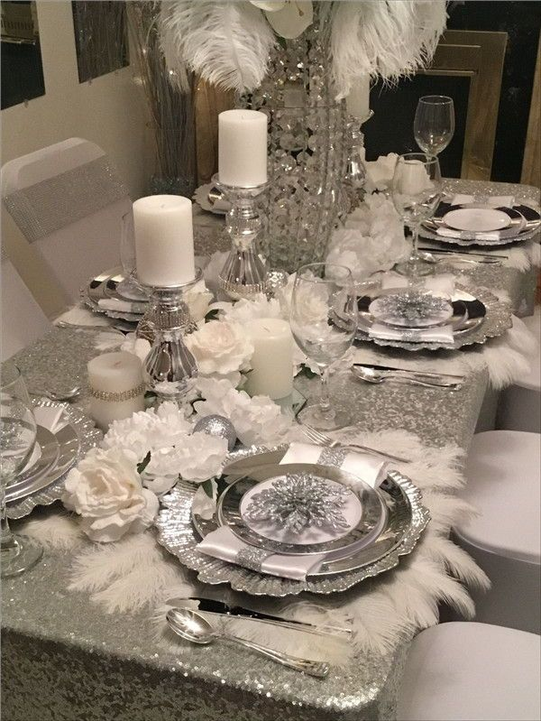 26 Practical Silver Wedding Décor Ideas That Wow Amaze Paperie Christmas Dining Room Table Dining Room Table Decor Dining Room Table Centerpieces