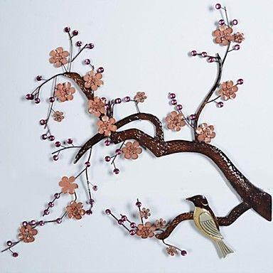 metalen kunst aan de muur muur decor, stoppen bij de muur decor pruim takken vogels – EUR € 146.12