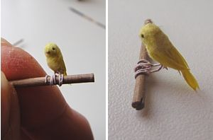 DIY miniature canary - instructions not in English however well illustrated - source: poes and poppenhuis