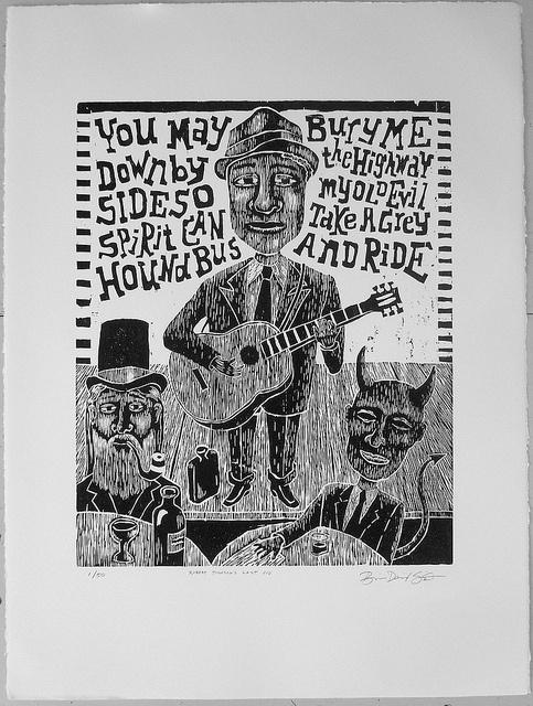 Robert Johnson Woodblock Print by feloniousart, via Flickr
