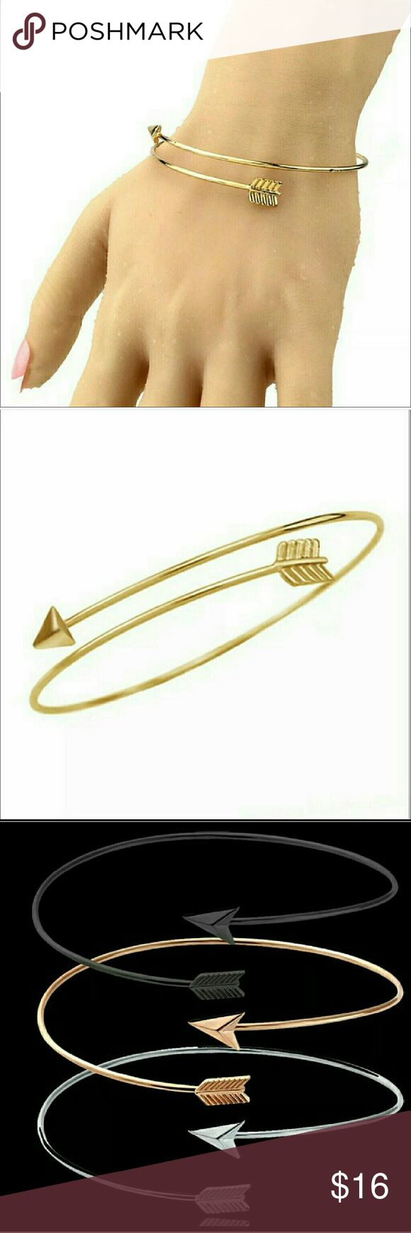 Gold Arrow Bracelet Wrap Boho Jewelry Country Hunt Gorgeous gold colored arrow bracelet,  still new in the package.  It can be adjustable to fit any wrist or upper arm.   Black and silver bracelet, silver Earrings and ring are also available.   Smoke free home. I will gladly bundle items to give you a discount (the more you buy, the cheaper I can let everything go!). Many items can be added on for only $1. Jewelry Bracelets