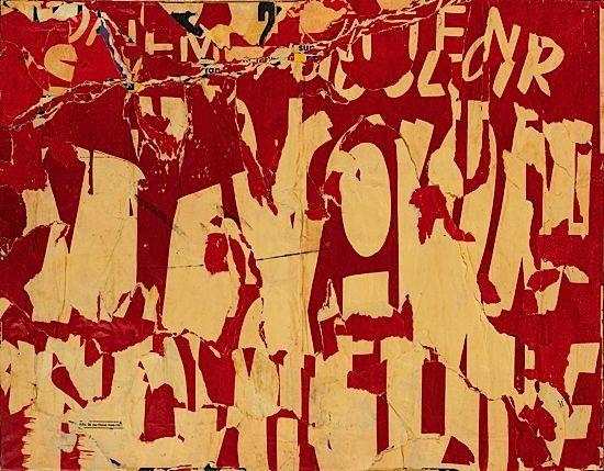 Jacques Villeglé, Les Ternes (Lettres jaune sur fond rouge), 1957, décollage