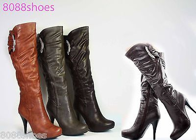 Sexy Slouch Rhinestone Women's Platform Stiletto Heel Boot Shoes NEW All Size