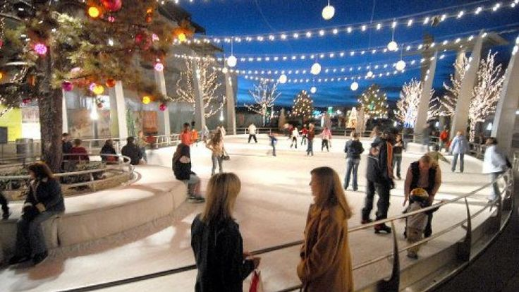 Ice-skaters at the new Rink at Belmar - Lakewood, CO #DenverWinter #coloradowinteractivities
