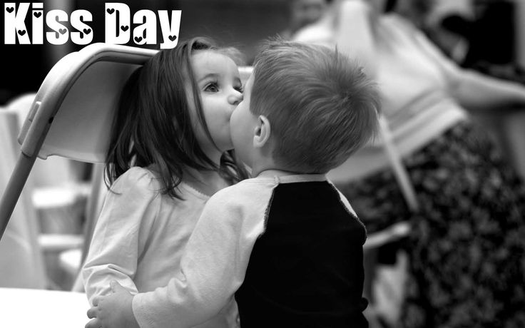 Lovely Kids Kissing on Kiss Day Image