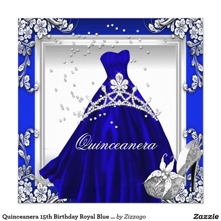 Blue dress quinceanera butterfly invitations