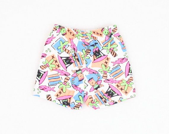 Vintage 2T Shorts Toddler Shorts Bathing Suit Swimsuit Neon New Wave SURFER Shorts 1980s 80s Rad Summer Shorts 18m 18 Months 12m 24 Months #vintage #etsy #baby #boy #girl #1980s #80s #newwave #neon #surfer #skater #savedbythebell