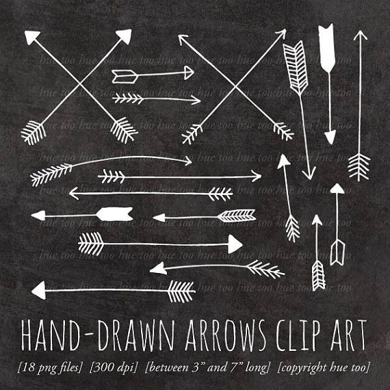 Arrows Clip Art, Arrow Clipart, Tribal Archery Hand Drawn Arrows, White Chalk… – Hand-drawn Arrow Tattoo Ideas