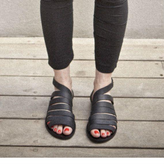 SALE 30 Black women collar sandals by WalkByAnatDahari ♥