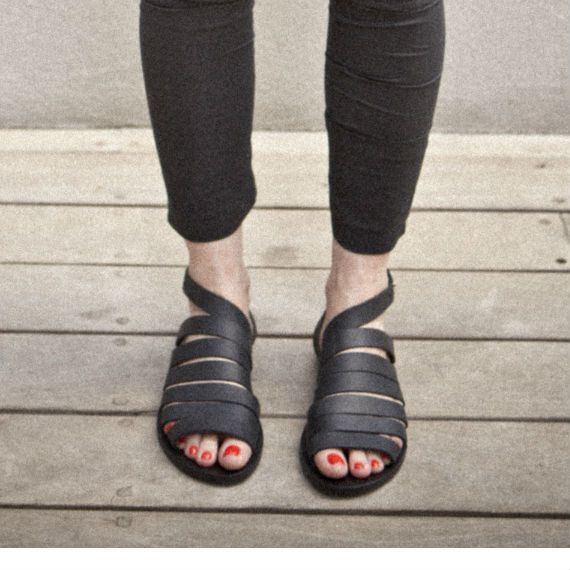 SALE 30 Black women collar sandals by WalkByAnatDahari