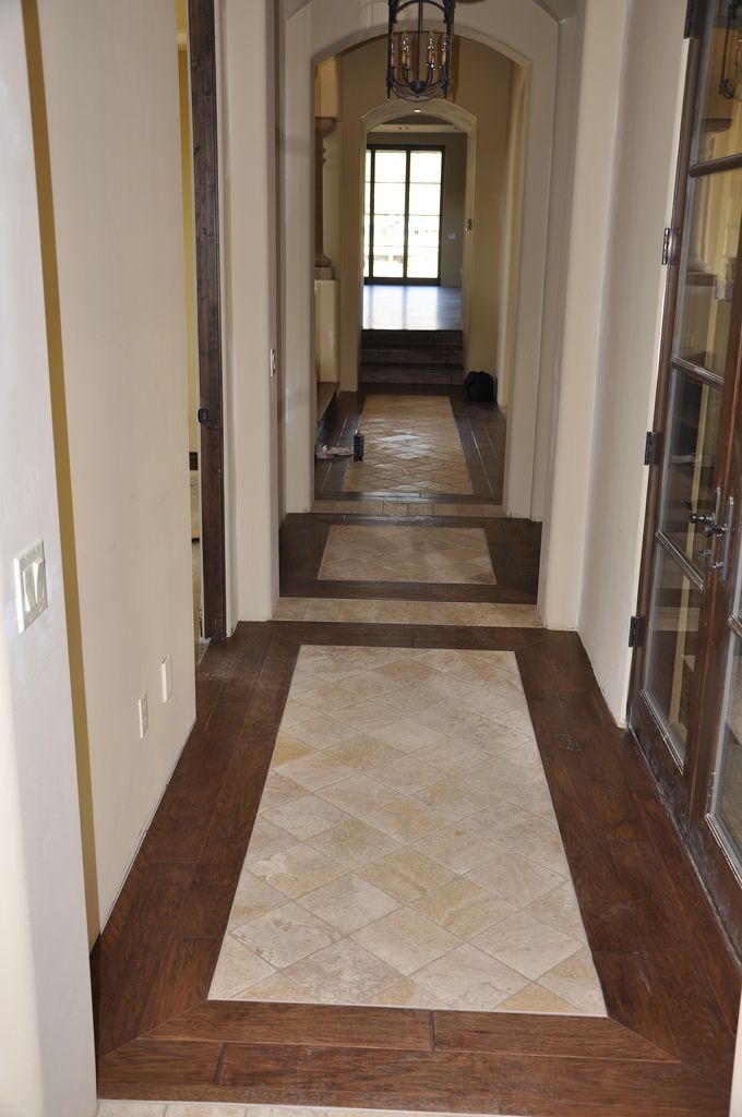 Tile wood entryway for the home pinterest cases for Tile and hardwood floor