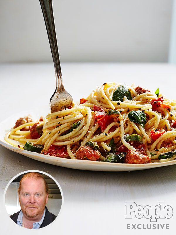 Mario Batali's Tomato & Chorizo Spaghetti Is a Weeknight Dinner Dream http://greatideas.people.com/2016/05/31/mario-batali-tomato-chorizo-spaghetti-red-campaign/