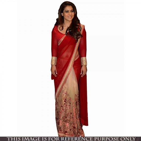 Bridal Bollywood Sarees Red And Cream Kajol's Bollywood Sarees With Floral Embroidery And Lace Border Work
