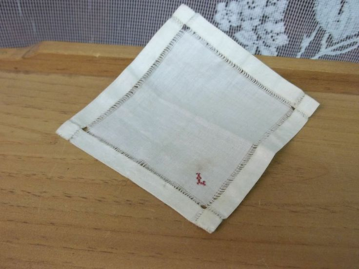 Tiny Vintage French Fashion Doll  Embroidered Handkerchief