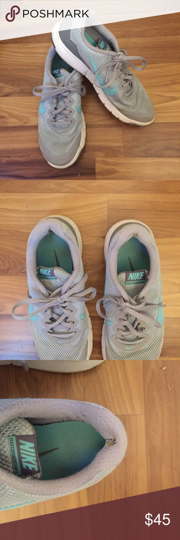 ✔️NIKE Tiffany blue/grey FLEX EXPERIENCE RN 4✔️ See all photos for signs of wear. Light grey with Tiffany blue details. Style is FLEX EXPERIENCE RN 4. Small holes in the back of each heel, doesn't effect the wear. Nike Shoes Athletic Shoes