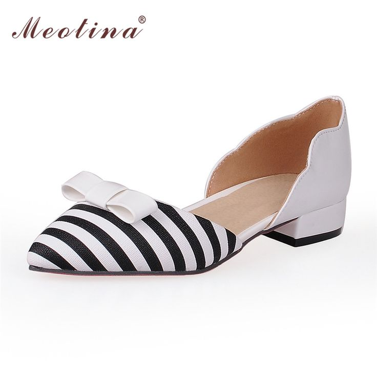 18.24$  Buy here - http://alidv9.shopchina.info/go.php?t=32708317799 - Meotina Women Shoes Pointed Toe Ladies Flat Shoes Office Lady Flats Slip On Bow Shoes Women Two Piece Footwear Large Size 9 10  #buyonline