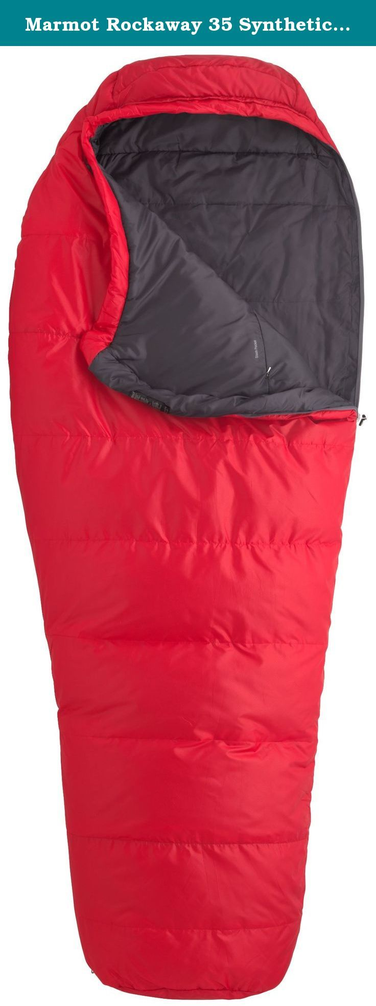 "Marmot Rockaway 35 Synthetic Sleeping Bag, Regular-Left, Red. Based on our popular Trestles Series, the Rockaway 35 has a wider build for those who require a roomier sleeping bag. We've added 5"" at the shoulder, waist and foot without sacrificing ergonomic style lines. SpiraFil High Loft Insulation with Shingle insulation construction keeps you warm to freezing temps."