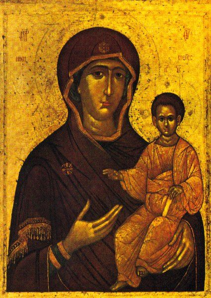 In the Virgin Hodegetria type the Virgin Mary holds Christ on her left arm and gestures toward him with the elongated fingers of her right h...