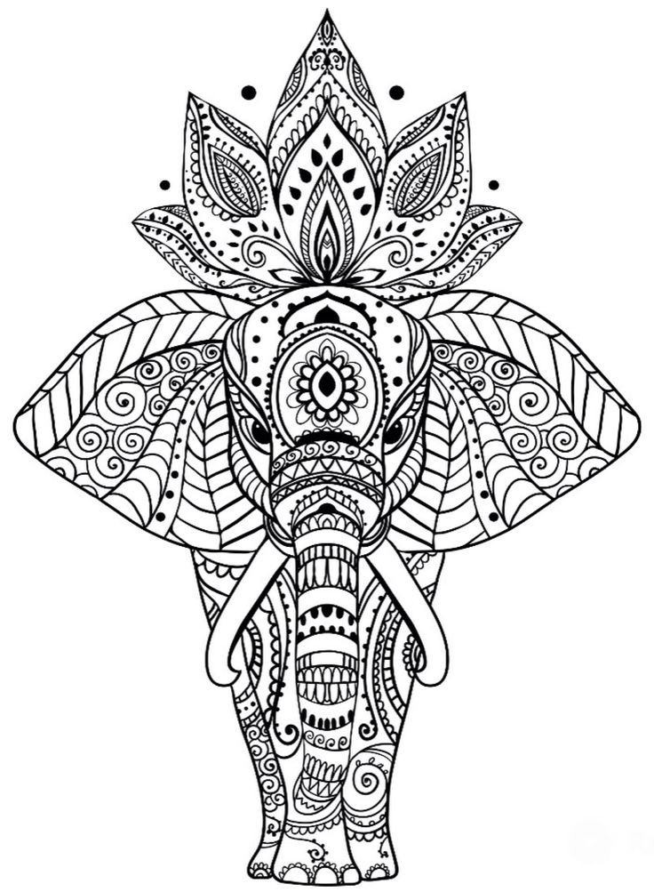 mandala elephant coloring pages easy - photo#19